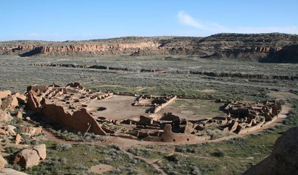 Pueblo Bonito, the largest great house in Chaco Canyon, New Mexico.