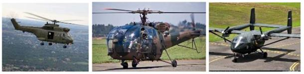 Left to right, contemporary versions of the Puma, Alouette, and Arava aircraft. Photo credits:  forcesmilitary.blogspot.com, nehandaradio.com, and airliners.net.