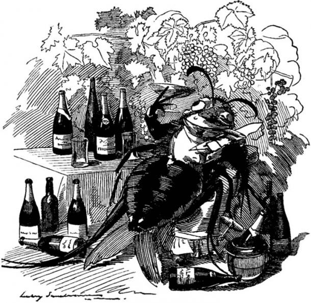"A cartoon from 'Punch' from 1890: ""The phylloxera, a true gourmet, finds out the best vineyards and attaches itself to the best wines."""