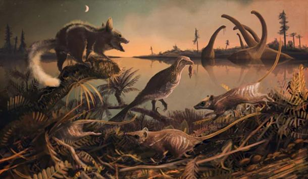 Purbeck mammals, Durlstodon and Durlstotherium. Jurassic Mesozoic mammals that are ancestors to placental mammals. Illustration: © Mark Witton 2017