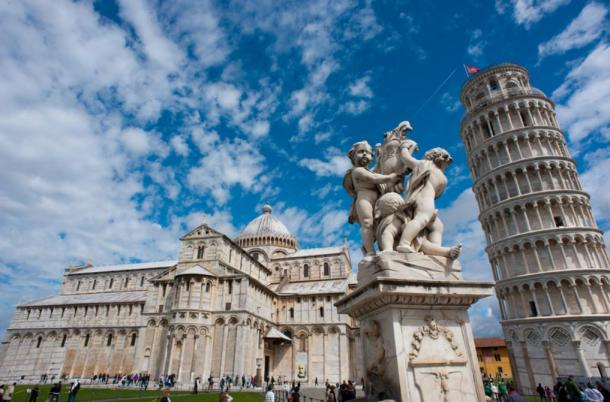 Putti Fountain, Pisa Cathedral, and the Tower of Pisa