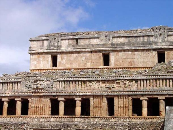 Puuc-style architecture of the Maya: ruins of the Palace of Sayil, Yucatan.