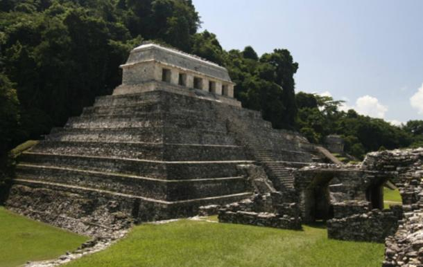 Pyramid Temple of the Inscriptions at Palenque, Chiapas, Mexico.