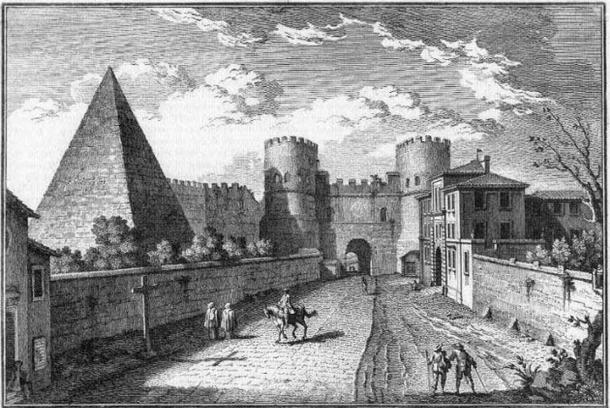 The Pyramid of Cestius incorporated into the Aurelian Walls