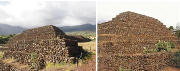 Left: Pyramid of Güímar, Tenerife, Canary Islands (Mathias /Adobe Stock) Right: Pyramid of Etna in Sicily (author provided).