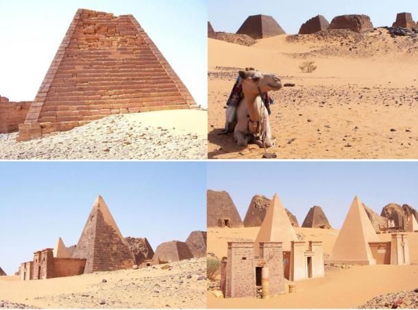 Photographs of the Pyramids at Meroe in Sudan, 2005.