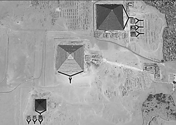 Pyramids look like enormous wedges. (Image via author)
