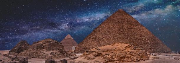 The Pyramids of Giza at night time. (Anton / Adobe stock)
