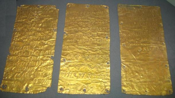 """""""Pyrgi tablets"""". Laminated sheets of gold with a treatise both in Etruscan and Phoenician languages. From Etruscan Museum in Rome."""
