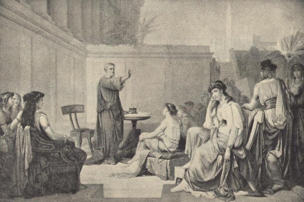 Illustration depicting Pythagoras teaching women.