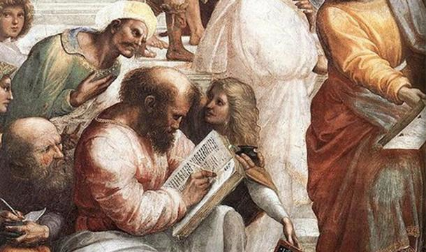 Detail of Pythagoras writing from 'The School of Athens.' By Raphael.
