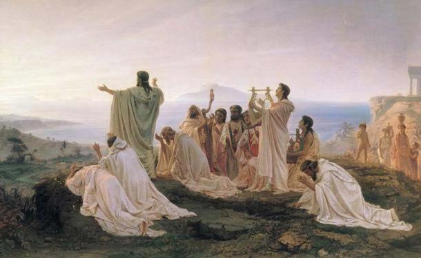 Pythagoreans celebrate sunrise. (1869) By Fyodor Bronnikov. (Public Domain)