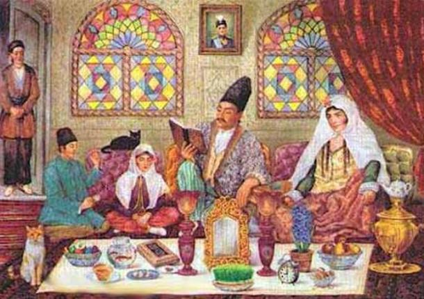 A painting representing a Qajar family gathering for Nowruz, and sitting around the Haft-Sin and probably reading Hafez.