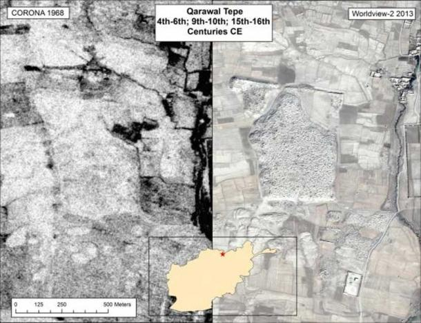 Qarawal Tepe in Northern Afghanistan has been extensively looted--the 2013 image shows the site marked by thousands of pits.