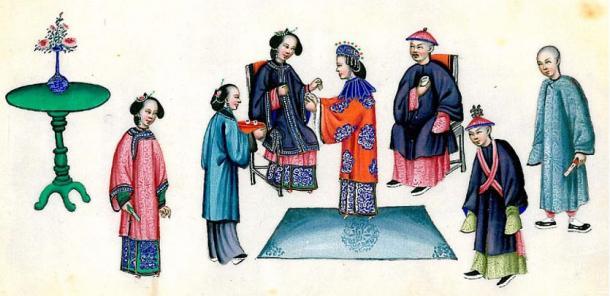 A Qing dynasty wedding, China