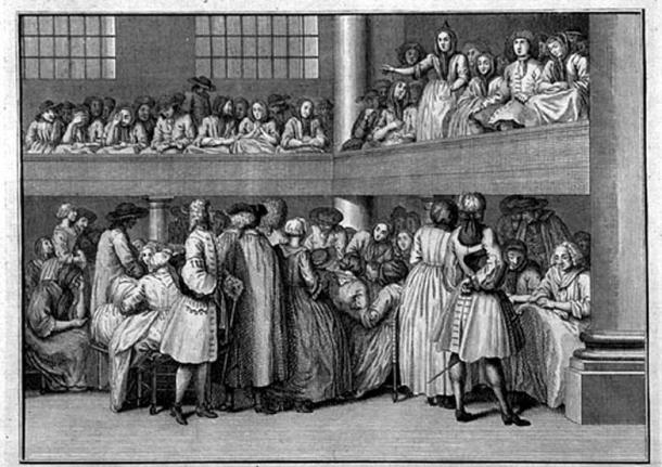 Quaker Meeting in London: A female Quaker preaches (c.1723), engraving by Bernard Picard (1673-1733). (Public Domain)