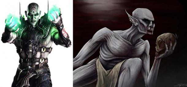 Left: Quan Chi in Mortal Kombat X. (Fair Use) Right: An illustration of a strigoi.(Skorganizedchaos/Devianart)