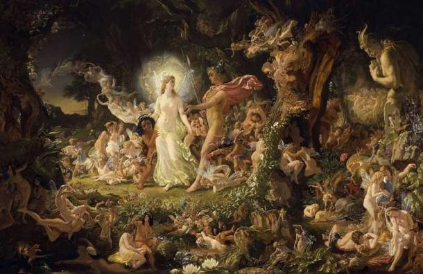 The Quarrel of Oberon and Titania, Joseph Noel Paton. Fairies in Shakespeare.