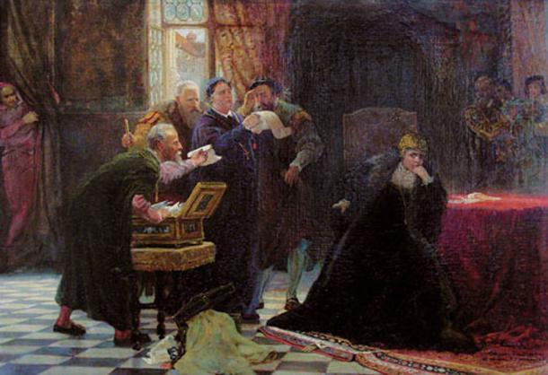 Abdication of Queen Bona, by Szymon Buchbinder.