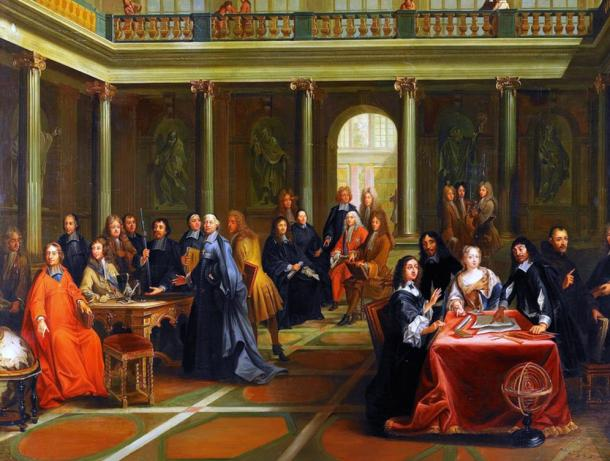 Queen Christina (at the table on the right) in discussion with French philosopher René Descartes.