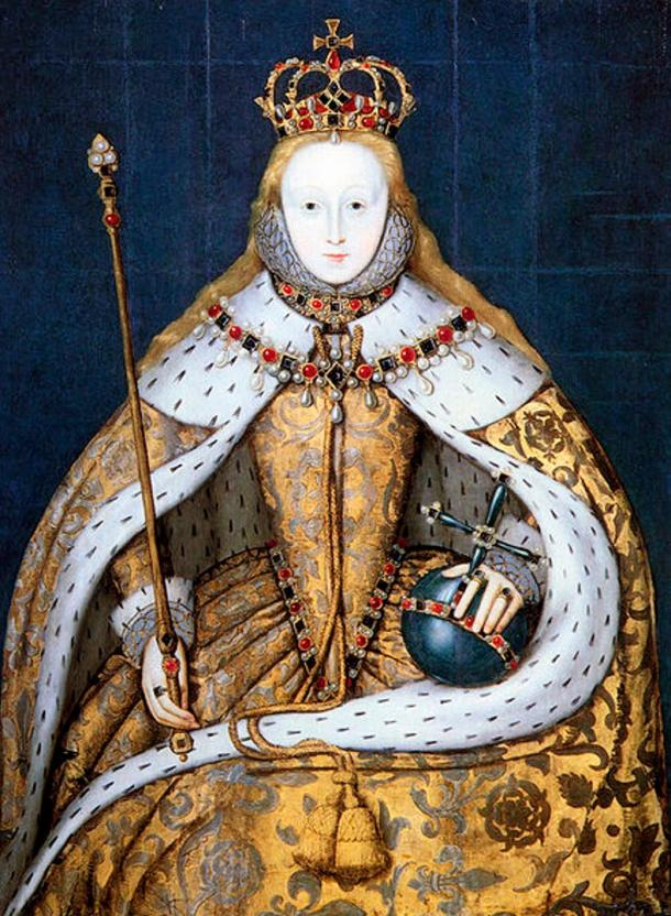 Queen Elizabeth I of England in her coronation robes, patterned with Tudor roses and trimmed with ermine.