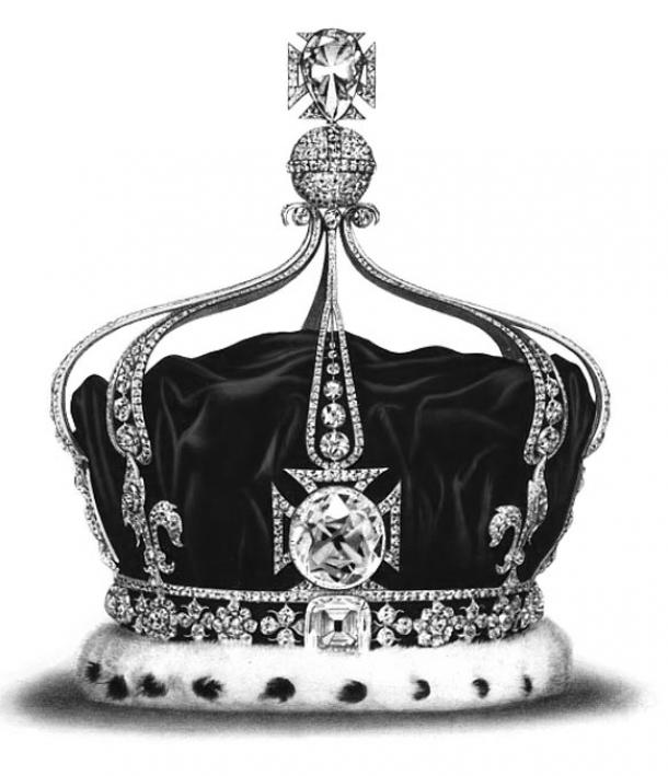 The Koh-i-Noor in the front cross of Queen Mary's Crown, 1911–37.