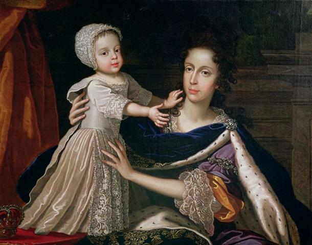 Queen Mary of Modena with her son, James Francis Edward, by Benedetto Gennari the Younger. (Public Domain)