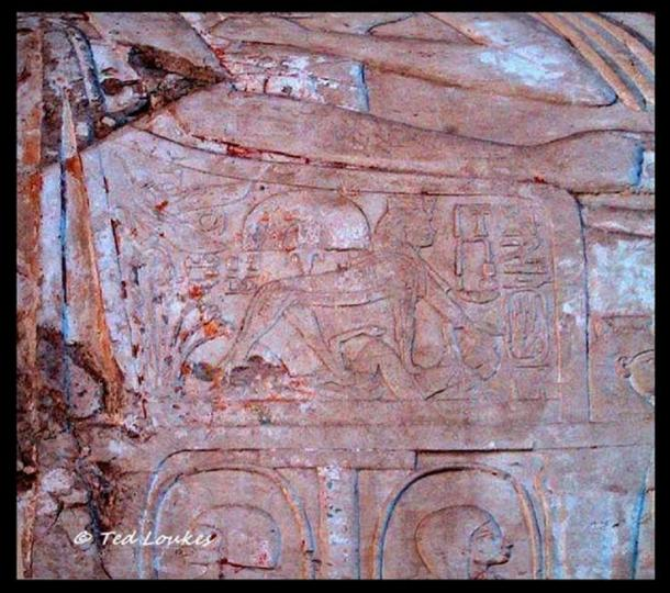 Queen Tiye is depicted in an unusual fashion in the tomb of her steward Kheruef (TT192). In this relief, she is shown as a sphinx, indicating her domination over the hostile women of the country. This representation was reserved for ruling pharaohs.