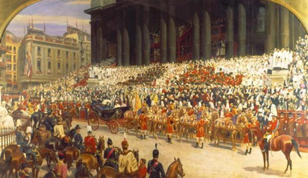Queen Victoria at St. Paul's Cathedral on Diamond Jubilee Day. (Public Domain)