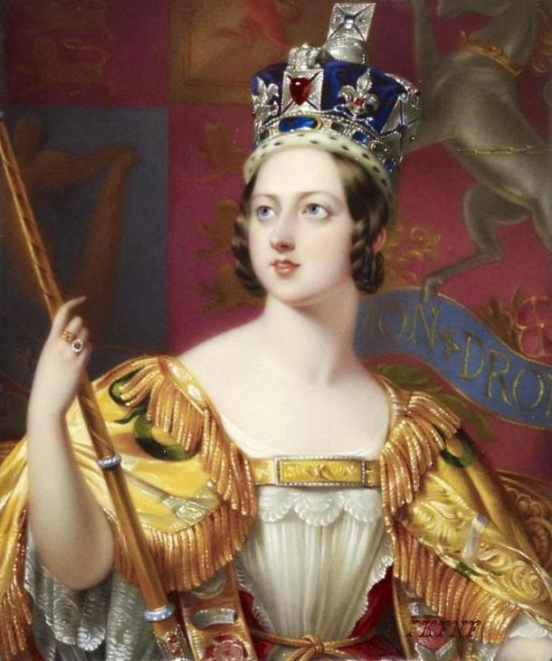 Queen Victoria in her coronation robes.
