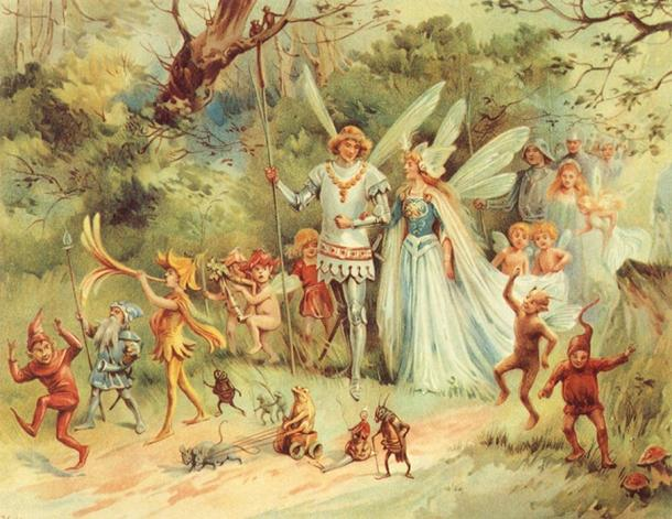 """""""The Arrival of the King & Queen of Fairies"""" - E Stuart Hardy."""