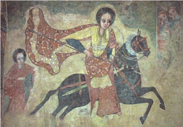The Queen of Sheba on horseback enters Jerusalem, Ethiopian fresco