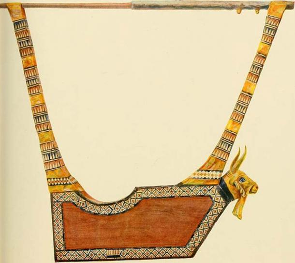 The Queen's Lyre from Woolley's published record of the discovery.