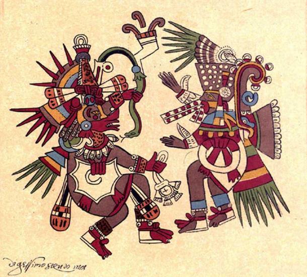 Quetzalcoatl (left) and Tezcatlipoca (right).