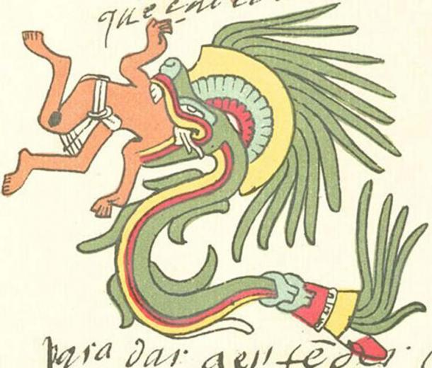 Quetzalcoatl in feathered serpent form as depicted in the Codex Telleriano-Remensis.
