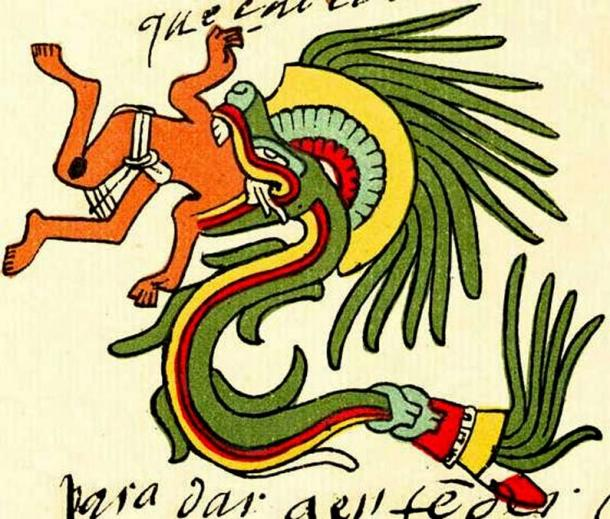 Quetzalcoatl in feathered serpent form, Codex Telleriano-Remensis. (Public Domain)