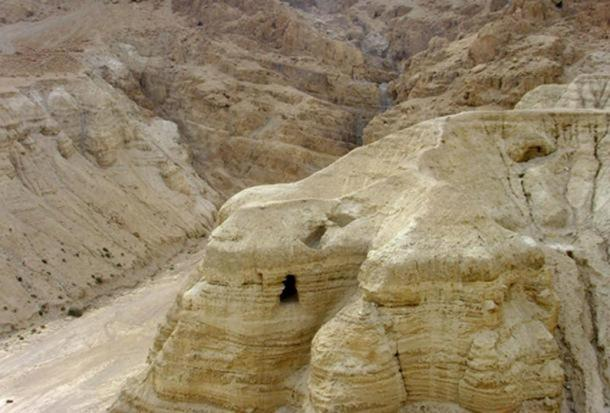 Qumran cave 4 in the Judean Desert, where ninety percent of the scrolls were found