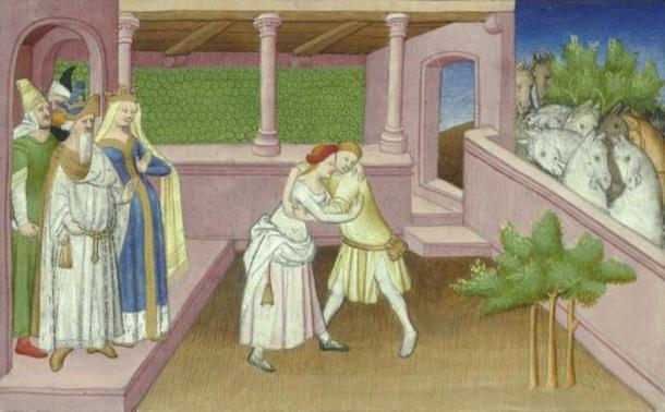 'Qutulun, daughter of Qaidu.' (Public Domain) This is a representation dating from 1410-1412 of Khutulun wrestling a potential suitor.