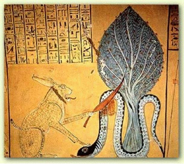 Ra in the form of a feline slaying the snake Apophis, Tomb of Inherkha, 1160 BC, Thebes.