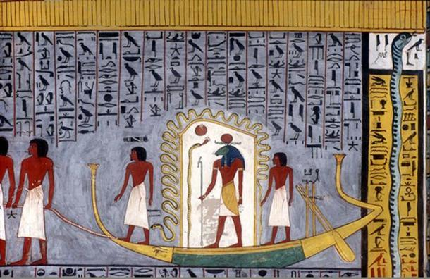 Ra traveling through the underworld in his barque, from the copy of the Book of Gates in the tomb of Ramses I (KV16).