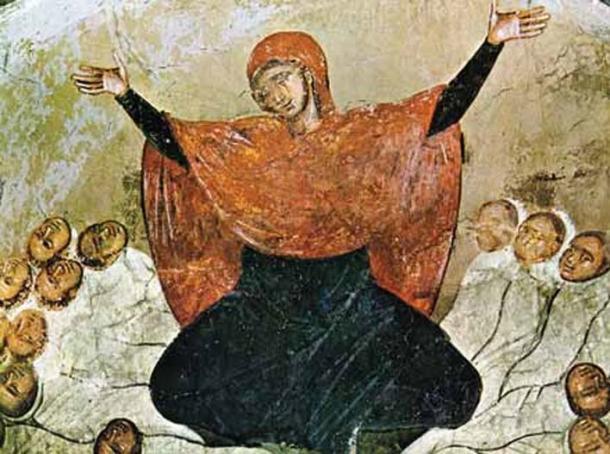 Rachel is weeping for her children, 14th century fresco from Marko's Monastery.