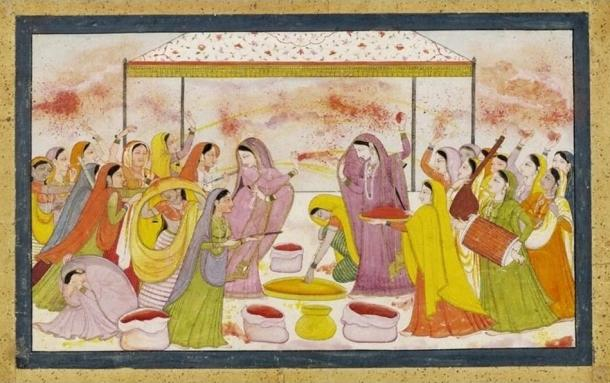Radha celebrating Holi (1788)