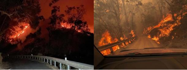 Raging fires tear towards Jenolan Caves Reserve. Credit: Jenolan Caves RFS Facebook page