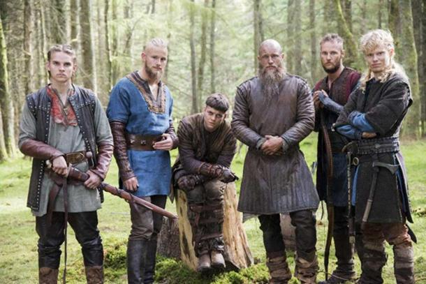 Ragnar Lothbrok and his sons Hvitserk, Bjorn, Ivar, Ubbe, Sigurd as portrayed in the TV series 'Vikings.' (CC BY SA)