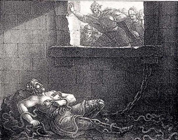 Ragnar's execution by King Ælla in a pit of snakes. Etching by Hugo Hamilton. (Public Domain)
