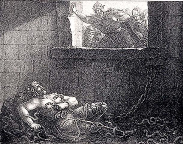 Ragnar's execution by King Ælla in a pit of snakes. Etching by Hugo Hamilton