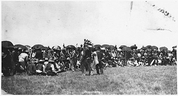 """Rain dance"", ca. 1920"" (from the Potawatomi agency, presumably Prairie Band Potawatomi people.) (Public Domain)"