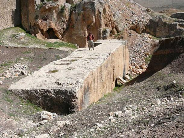 Ralph Ellis stands on the largest quarried stone at Baalbek, Lebanon. (CC BY-SA 4.0)