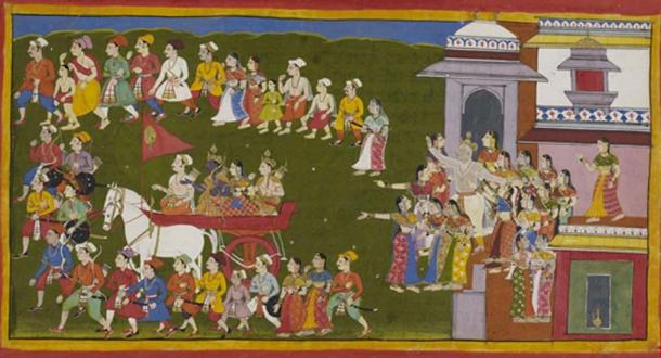 Rama leaving for fourteen years of exile from Ayodhya.