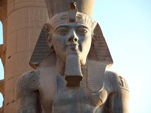 A Closeup of a Ramesses II Colossus in Luxor Temple